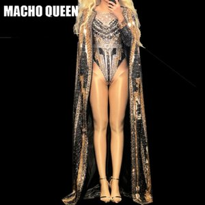 Drag Queen Disfraces Rhinestone Body Coat Jumpsuit Celebrity Stage Performance Cantante Party Outfits