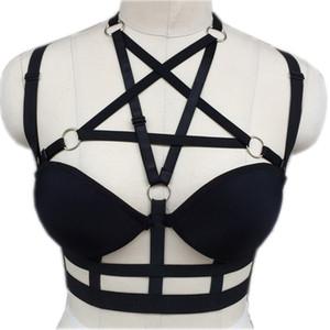 Модные сексуальные лиги панк-рок черный пентаграмма звезда Harnais Harness Body Bondage Клетка бюстгальтер Скульптуры поясной ремень чулки