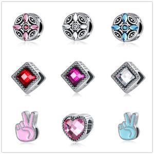 nuovi MOQ20pcs trasporto libero europeo d'argento di White Lake rosa blu dito cuore gioielli Fai da te Bead D0020 braccialetto di fascino misura Pandora