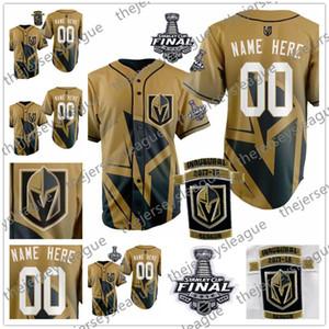 Personnalisé Vegas Golden Knights 2018 Coupe Stanley Inaugural Patch N'importe quel Numéro Nom Or Bonne Qualité Cousu Fleury Neal Baseball Jerseys