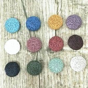 Perline di pietra lavica naturale multicolore da 20 mm cerchio perline fai da te Diffusori di diffusori di olio essenziale Collana di gioielli Creazione di orecchini
