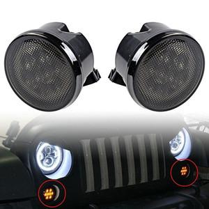 Luces de señal de giro LED ámbar delanteras para Jeep Wrangler JK 2007-2016 lente de humo