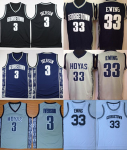 Universidade Georgetown Hoyas Jerseys Homens Venda Basquete Allen 3 Iverson Jersey Patrick 33 Ewing Uniforme Esporte Colégio Respirável Top Quality