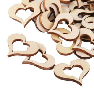 50 unids Hollow Wooden Heart Table Confetti Rustic Wedding Photo Props Artesanías De Madera Confeti Decoración de La Boda