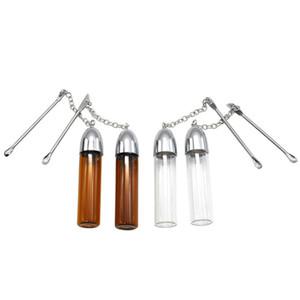 Мини небольшой размер Серебряный прозрачный коричневый 36 мм 57 мм 72 мм стекло табак Pill box бутылка с металлической ложкой Spice пуля ракета Snorter дело