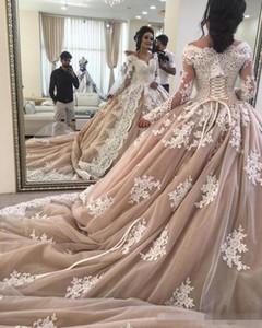 Кружевные свадебные платья с длинным рукавом 2019 Дубай Последние декольте A-Line Темное шампанское Аппликации Тюль Свадебные платья robes de soirée
