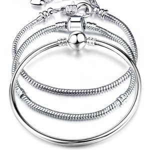 Ketten Armbänder 925 Silber LIEBE Schlangenkette Armband Armreif Pulseras Hummer für Charms Perlen Link Armband