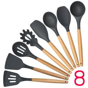New Madeira Silicone Handle Cozinhar Ferramentas utensílios para cozinha Slotted Turner Espátula Colher Panela de espaguete Cozinhar Sets 100sets IB691
