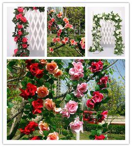 50 adet DHL ücretsiz 245 cm Düğün dekorasyon Yapay Sahte Ipek Gül Çiçek Asma Asılı Çelenk Düğün Ev Dekoratif Çiçekler Çelenkler