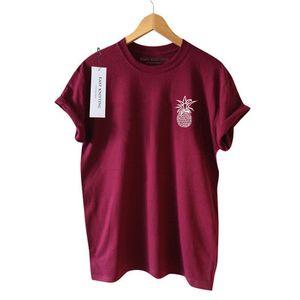 New Summer Tee Manches Courtes Ananas Imprimé De Base Femmes T-shirt Doux Preppy Style Vêtements S-3XL Taille