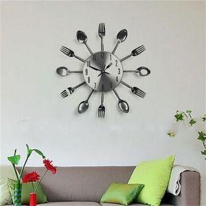 Couverts Horloges Cuisine Moderne Salon Mur Cuillère Fourchette Couteau Mécanisme D'horloge Conception Home Decor Art Vente Chaude 21hr V