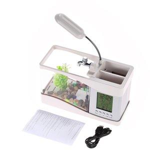 USB Desktop Aquarium Mini Fish Tank with Running Water LCD Time Clock Alarm Colorful LED Lamp Light Calendar Holds 1.5 Quart for Home Office