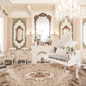 Interior Room European Style Decoration Wedding Photography Backdrops Printed Dressing Table Chandelier Piano Photo Backgrounds for Studio