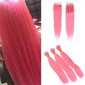 Бразильский розовый человеческих волос ткет с закрытием шнурка шелковистой прямой светло-розовый девственные волосы кружева закрытия и пучки 4 шт. лот