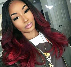 Dos tonos Ombre Burgundy Encaje completo Pelucas para el cabello humano T1B 99J Flojo Osal Wavy Virgin Virgin Hair Vino rojo Pelucas delanteras de encaje.