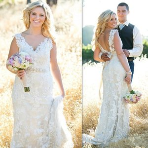 Elegant Country Wedding Dresses Backless Lace Cap Sleeve V Neck Crystals Beads Sash 2018 Spring Plus Size Bridal Gowns Custom Size