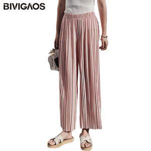 BIVIGAOS 2018 Printemps Eté Nouveau Pantalon large en mousseline de soie plissée à taille haute Pantalon élastique décontracté Pantalon court mince Femme