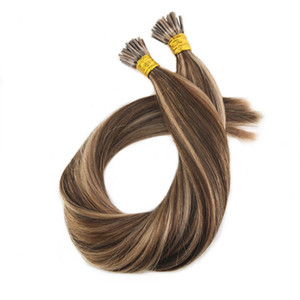 ELIBESS HAIR -I tip Hair Extensions #4 Highlights with #27 100g set 1g 1s Keratin I Tip 100 Remy Hair Extensions