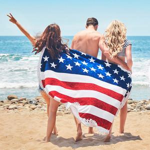 Amerikan Bayrakları Plaj Havlusu Bağımsız Gün Kırmızı Çizgili Mavi Yıldız Plaj Havlusu Yuvarlak Banyo Havlusu Baskılı Püsküller Plaj Mat Eşarp 113 adet
