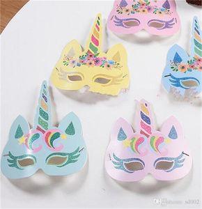 Einhorn Maskerade Maske Gold Glitter Papier Unicornio Schönheit Gesichtsmasken Für Kind Erwachsene Geburtstag Party Hochzeit Dekorationen Liefert 13dy ZZ
