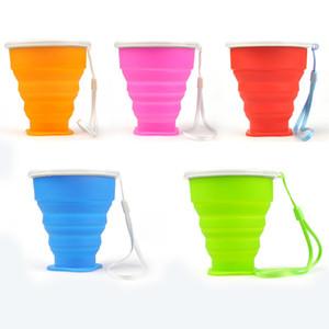 5 색 실리콘 접이식 접이식 텔레스코픽 접이식 접이식 물 컵 tumblerful 200mL 보그 야외 여행 woter
