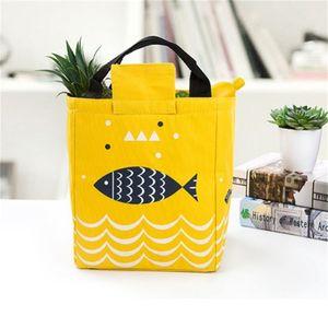Bento Tasche Fisch-Handtaschen Picknick im Freien Hitze Erhaltung Tragbare Lunch Boxes Oxford Cloth Perlgarn wasserdicht starke Durable 5 2BX V