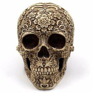 Horror Home Table Grade Decorativa Artesanato Horror Humano Resina Esqueletos Do Osso Do Crânio Decoração de Halloween Ornaments Flor Esqueleto