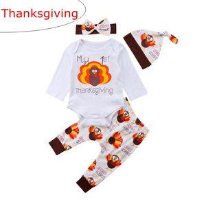 INS 4PCS Set mon 1er Thanksgiving nouveau-né bébé garçons filles manches longues en coton barboteuse Tops + pantalon long pantalon + bandeau + chapeau tenues vêtements