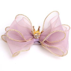 1PC Corona horquillas del cristal accesorios principales Hairbow del Grosgrain de la cinta sólido con clips grandes hechas a mano del brillo de las muchachas del bowknot Headwear