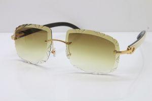 Livraison gratuite Rimless blanc intérieur noir Corne de buffle Lunettes de soleil T8200762 objectif Sculpté unisexe lunettes de soleil vintage lunettes de soleil Self-Made