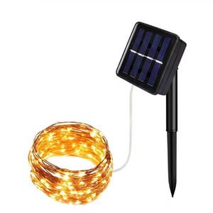 hot sale ten meter 100 lamp solar copper wire string courtyard waterproof lamp series Festival waterproof lamp string