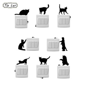 TIE LER 8 PCS Fashion Cartoon Cat And Mouse Window Wall Decorating Switch Sticker  Decal Decor Room