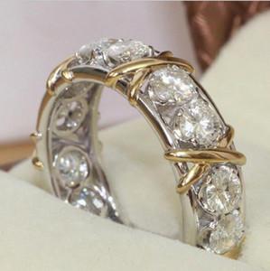 Professionnel Éternité Diamant 10KT WhiteYellow Gold Filled Bague De Mariage Croix Bague De Mode Bijoux Accessoires Accessoires