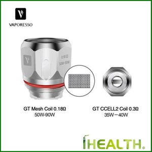 100% Original Vaporesso GT tête Mesh / Ccell 2 bobines 0.18ohm 0.3ohm bobines Ccell pour Cascade One Plus Starter Kit
