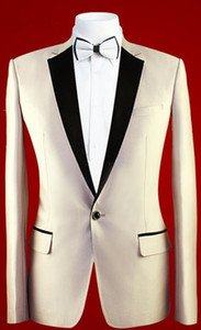 New Fashion Slim Fit Ivory Groom Tuxedos Notched Lapel One Button Groomsmen Men Business Formal Suit Party Prom Suit(Jacket+Pants+Bows Tie)