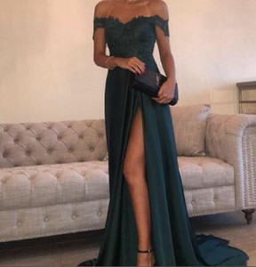 2017 vestidos de noche A-Line Hunter Green Chiffon High Split recorte Side Slit Lace Top Sexy fuera del hombro caliente vestido de fiesta formal