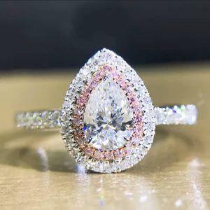Victoria Wieck Luxury Jewelry Pure 100% 925 Sterlling Silver Drop Water Topaz Blanco CZ Diamond Gemstones Mujeres anillo de la venda de boda para los amantes