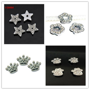 10 мм полный горный хрусталь Звезда цветок Корона слайд подвески Fit DIY 10 мм браслеты браслеты, ремни