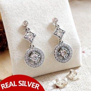 925 Silber Natürlicher Kristall Anhänger Ohrringe Original Box Fit Pandora Fashion Sterling Silber Schmuck Ohrring für Frauen Hochzeitsgeschenk