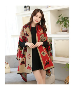 Imitation cashmere shawl ladies fashion autumn and winter new Korean version of the wild thickening imitation wool scarf dual-use cloak DHL
