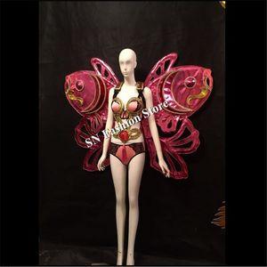 Show da senhora sutiã biquíni modelo show de palco usa trajes led abastecimento cantor de dança de salão sexy asas roupas dj bar mulheres vestidos desempenho dj