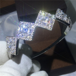 2017 Fashion Princess cut bracelet Diamond S925 Sterling Silver Filled Engagement bangle for women wedding accessaries