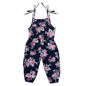 Ragazza del neonato fiore della stampa Salopette tuta abbigliamento estivo retrò Salopette Abbigliamento Bambini vestiti delle ragazze boutique
