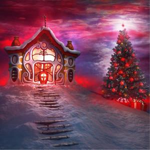 Sfondo di bambini favola foto sfondo stampato albero di Natale Red Santa House Belle nuvole scale Inverno neve sfondo scenico
