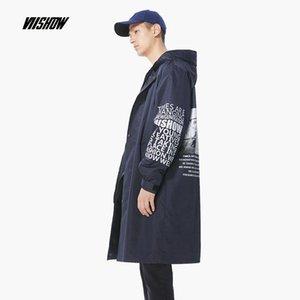 Casaco Marca Trench de Homens Impresso VIISHOW Homens Abrigo Hombre 2018 New Longo Homens Streetwear Manteau Homme FC2024183