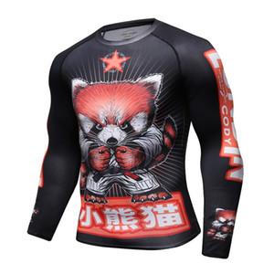 Chemise de compression des hommes Rashguard à manches longues 3D Imprimer Jiu Jitsu T-shirts MMA Fitness Mâle à séchage rapide Bodybuilding Crossfit Tops