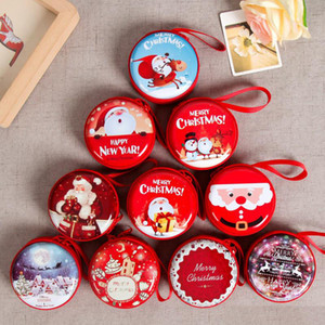 Cartoon Round Merry Christmas Coin Change Purse Mini Gift Bag Jewelry Box Christmas Gift Decorations Drop Shipping