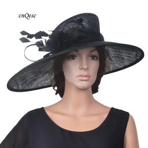 2018 NEUE X große schwarze Sinamay Hut Fedora Hochzeit Hut mit Feder Blume für Kentucky Derby, Party, Ascot