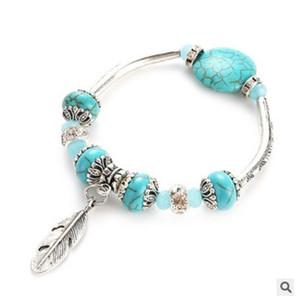 Jiasha Vintage Silber Schmuck Großhandel Frauen Volksart Türkis Perlen Armband