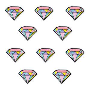 Sew Bordado Patch para Roupas de Ferro em Applique Cor Diamante Remendo Listra para a Juventude Pessoas Jaqueta Dos Desenhos Animados Acessórios 10 PCS